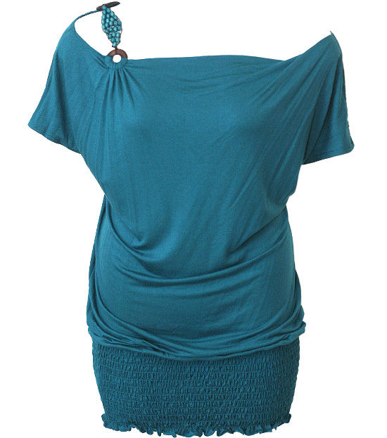 Beaded Strap Loose Teal Top