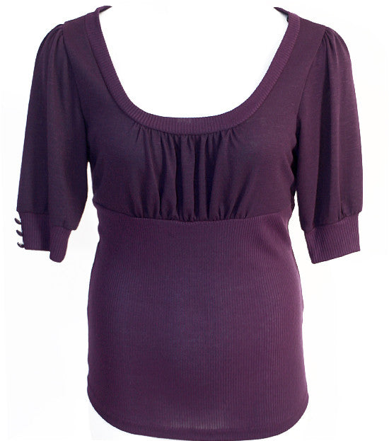 Plus Size Half Sleeve Sexy Purple Top