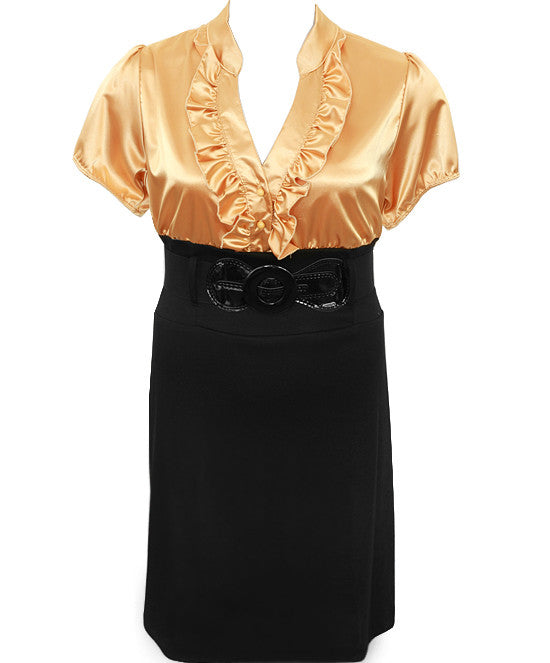 Plus Size Diva Belt Ruffled Gold Dress