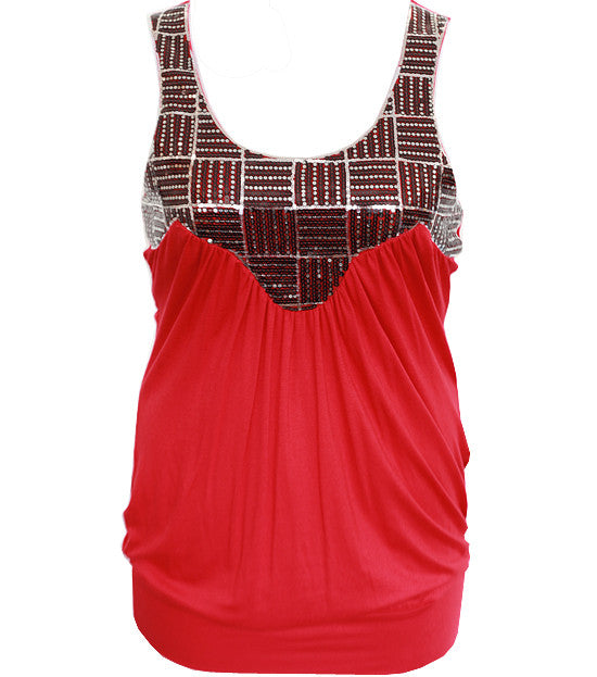 Plus Size Sexy Metalic Red Tank Top