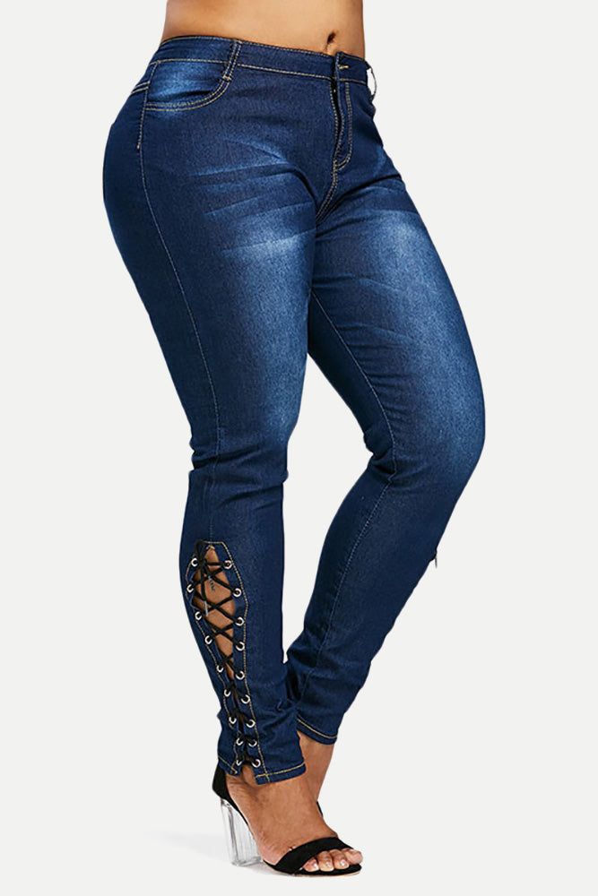 Plus Size Lace Up Side Diva Skinny Jeans