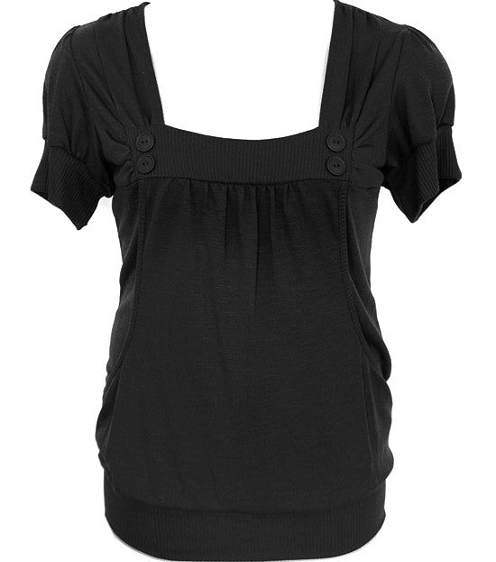 Plus Size Adorable Button Scrunch Black Top