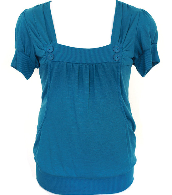 Plus Size Adorable Button Scrunch Blue Top
