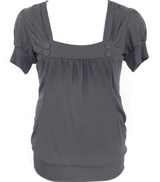 Plus Size Adorable Button Scrunch Grey Top