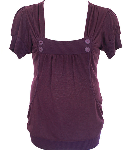 Plus Size Adorable Button Scrunch Purple Top