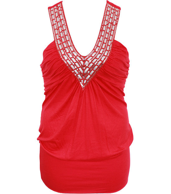 Plus Size Interlaced Collar Sexy Red Top