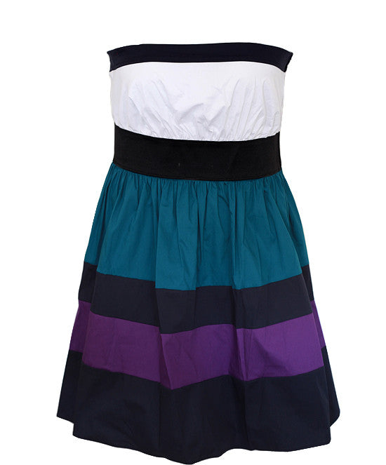 Plus Size Cotton Adorable Stripe Tube Dress