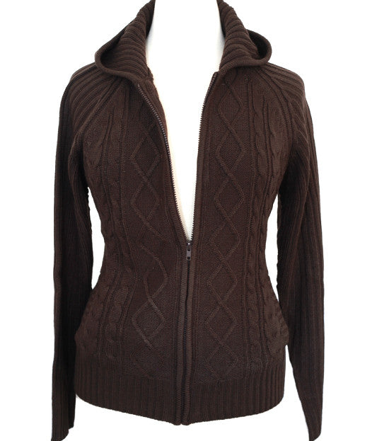 Plus Size Cozy Knit Zip Up Brown Hoody