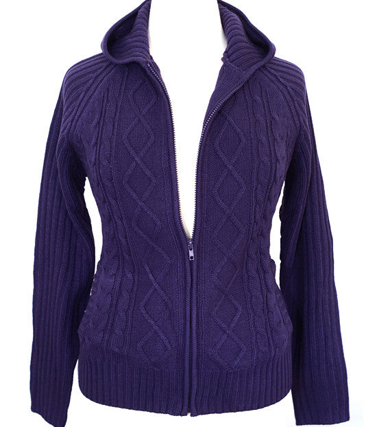 Plus Size Cozy Knit Zip Up Purple Hoody