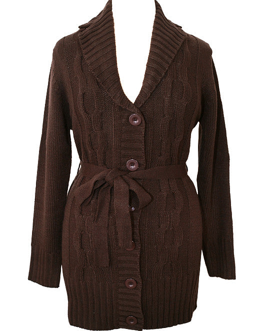 Plus Size Cozy Button Front Brown Belt Coat