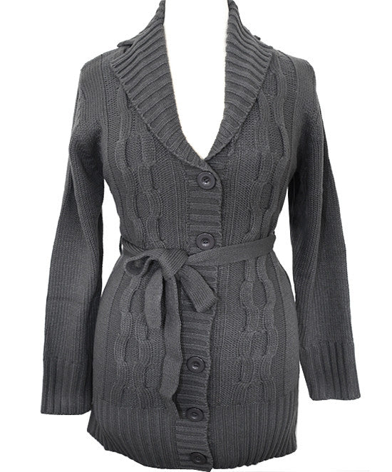 Plus Size Cozy Button Front Grey Belt Coat
