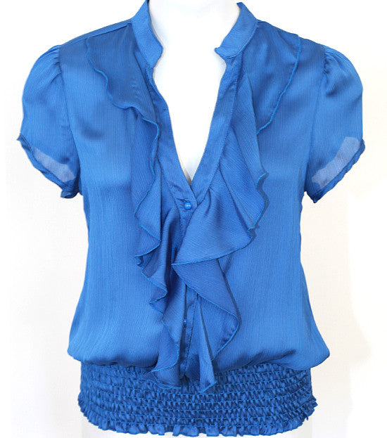 Plus Size European Ruffled Blue Blouse