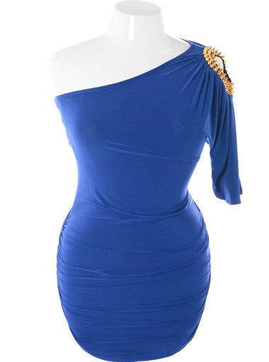 Plus Size One Shoulder Sexy Spike Blue Dress