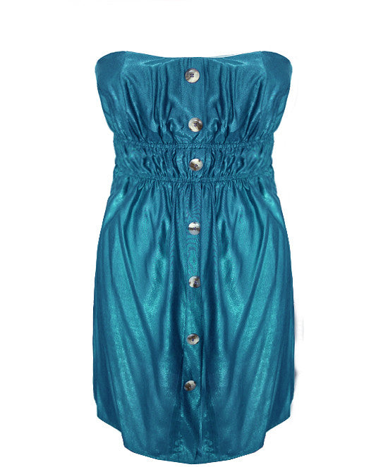 Button Down Teal Tube Dress