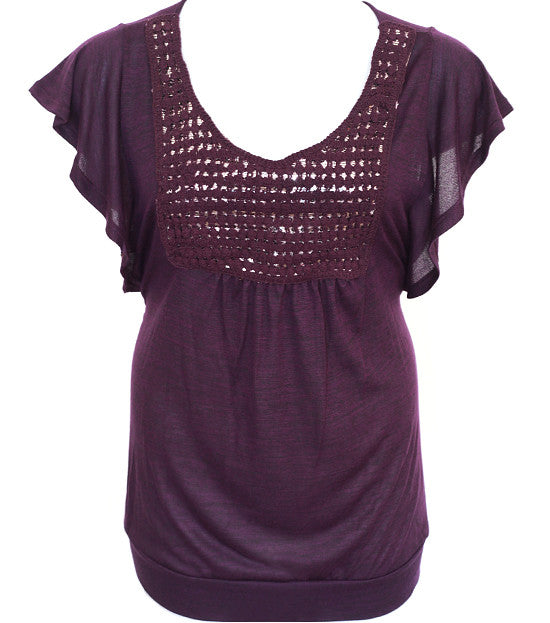 Plus Size Loose Sleeve Layered Purple Top