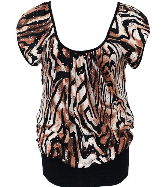 Plus Size Tiger Sexy Loose Layered Top