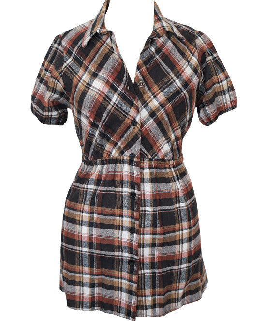 Plus Size Long Soft Plaid Brown Top