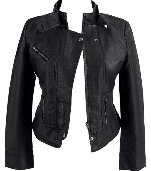 Sexy Leather Biker Black Jacket