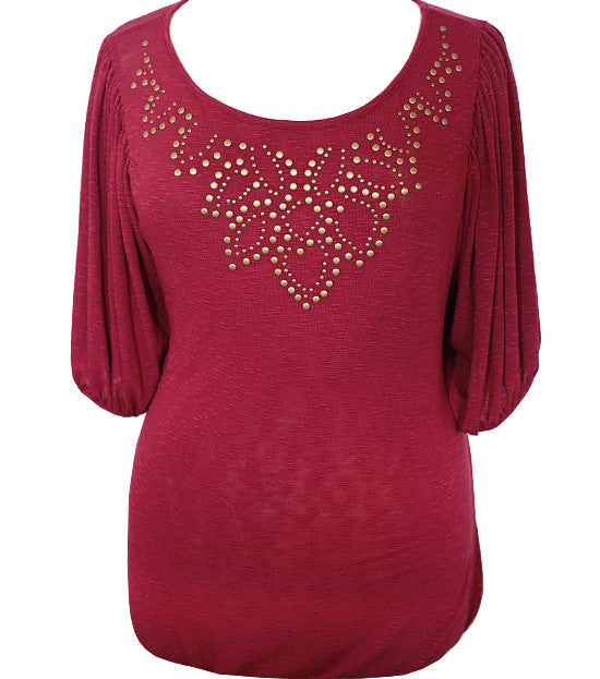 Studded Half Sleeve Red Blouse