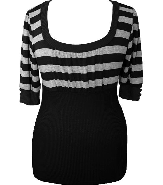 Plus Size Fun Stripe Hugging Black Top