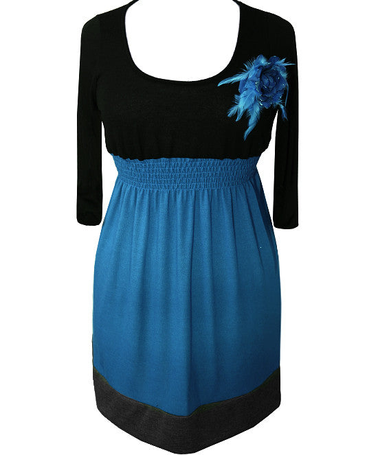 Plus Size Cute Long Sleeve Flower Blue Dress