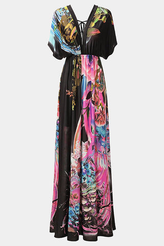 Plus Size Charming Floral Hues Maxi Dress