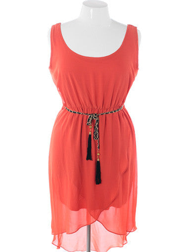 Plus Size Vintage Layered Dip Hem Coral Tank Dress