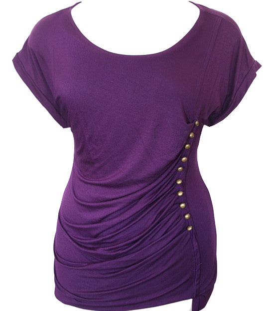 Plus Size Metal Studded Diva Purple Top