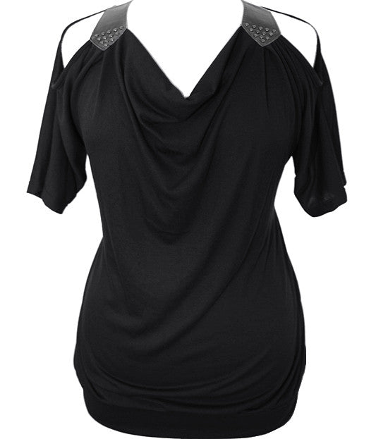 Open Shoulder Sleeve Black Top