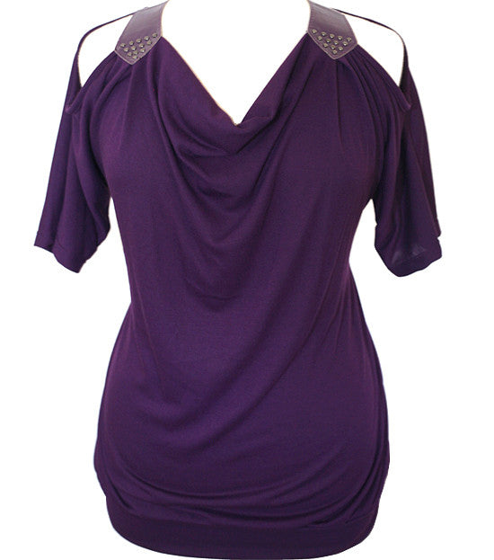 Open Shoulder Sleeve Purple Top