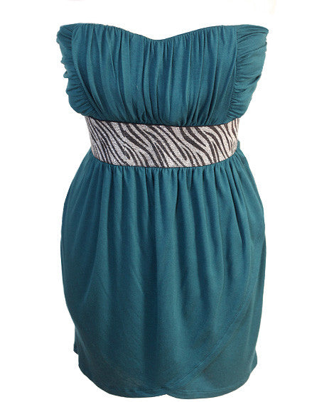 Plus Size Sparkling Zebra Teal Tube Dress