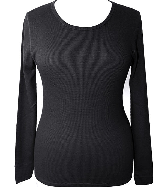 Plus Size Textured Long Sleeve Black Thermal