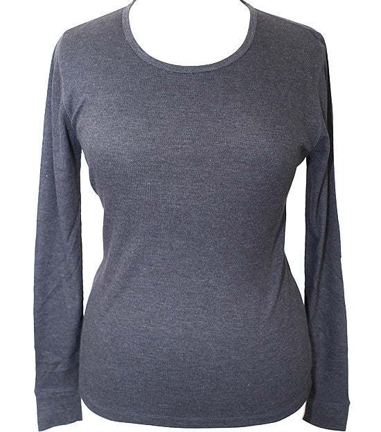 Plus Size Textured Long Sleeve Grey Thermal