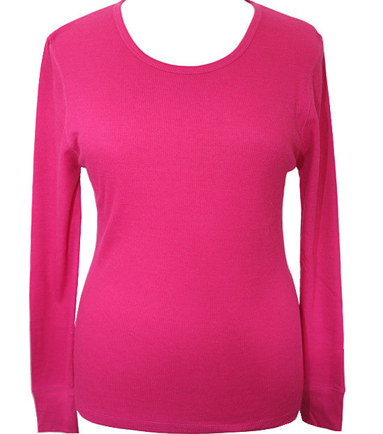Plus Size Textured Long Sleeve Pink Thermal