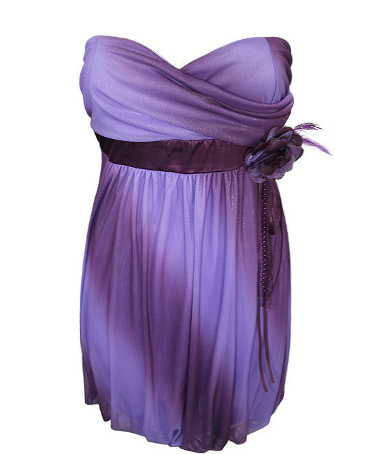 Plus Size Sparkling Flower Purple Tube Dress
