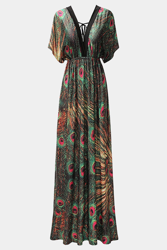 Plus Size Dolman Flutter Sleeve Peacock Vibrancy Maxi Dress