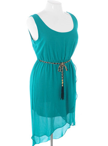 Plus Size Vintage Layered Dip Hem Teal Tank Dress