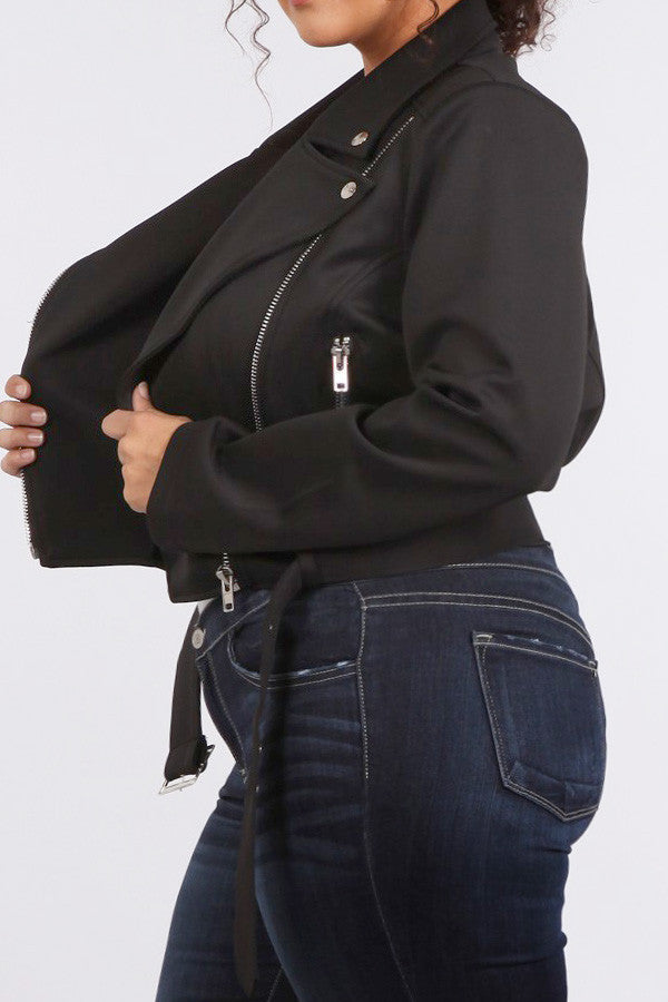 Chic Moto Zippered Plus Size Knit Jacket