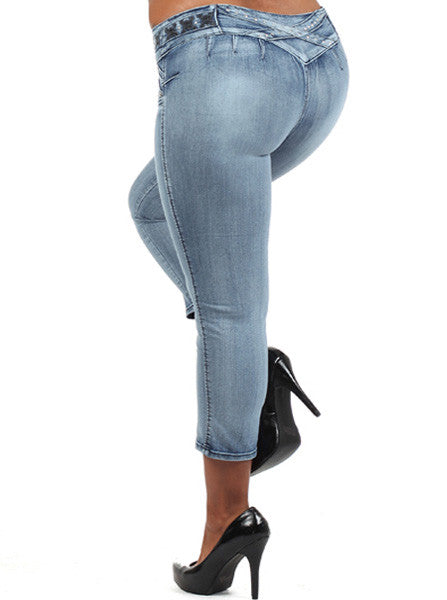 Plus Size Booty Lifter Colombian Capri Denim Jeans