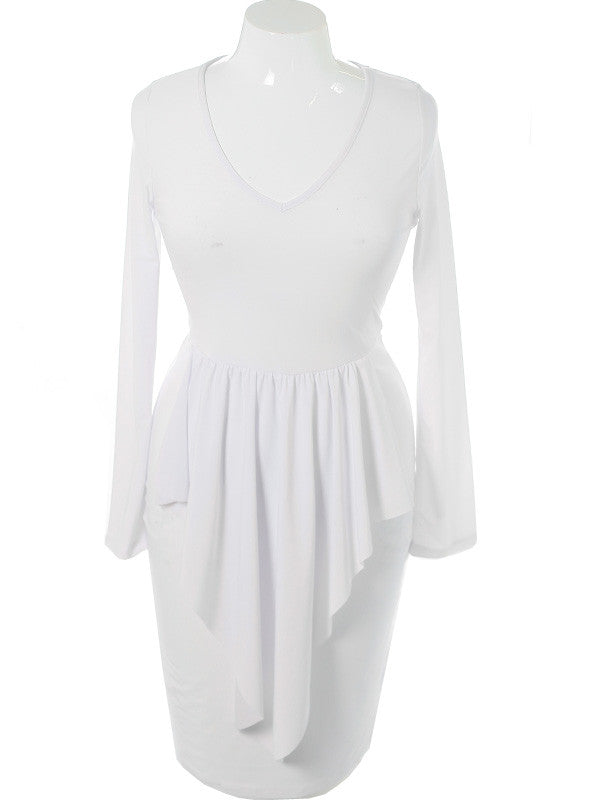 Plus Size Layered Point Skirt White Dress