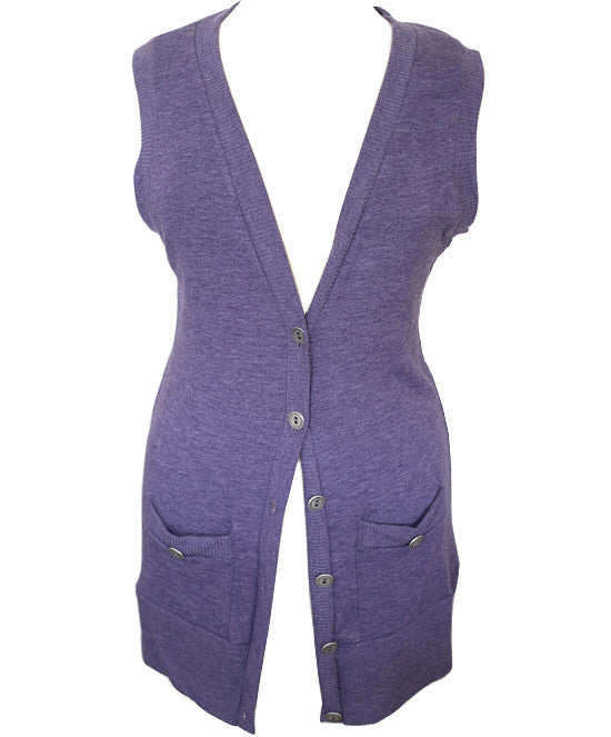 Sleeveless Soft Long Violet Cardigan