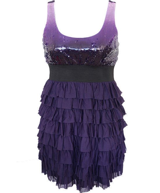 Ruffled Dazzling Sexy Purple Dress