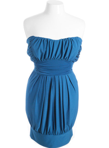 Plus Size Sexy Pleated Bubble Blue Tube Dress