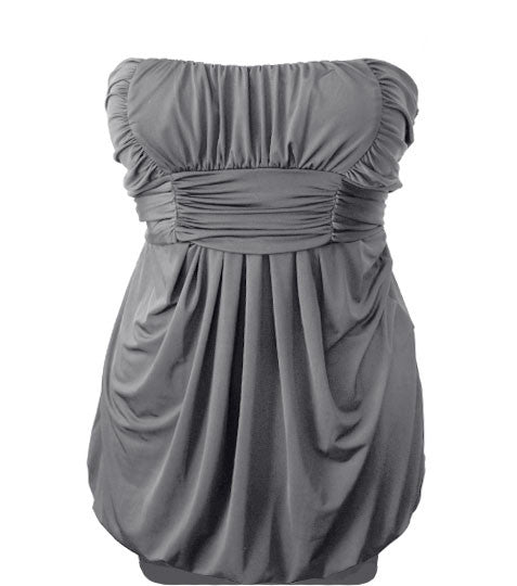 Plus Size Pleated Bubble Grey Tube Dress
