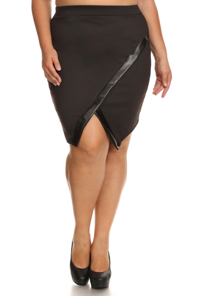 c01a9a387a15a Hot Jagged Hem Plus Size Leather Skirt – Plussizefix