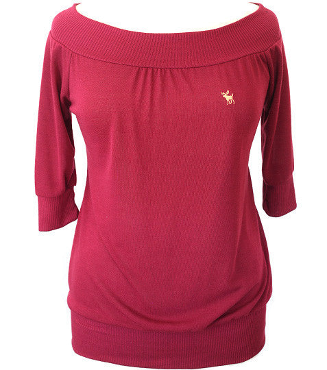 Plus Size Stretch Collar Cozy Red Top
