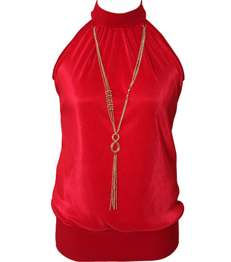 Plus Size Pleated Halter Jewelry Red Top