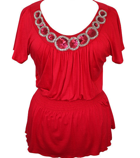 Plus Size Diva Dazzling Collar Red Top