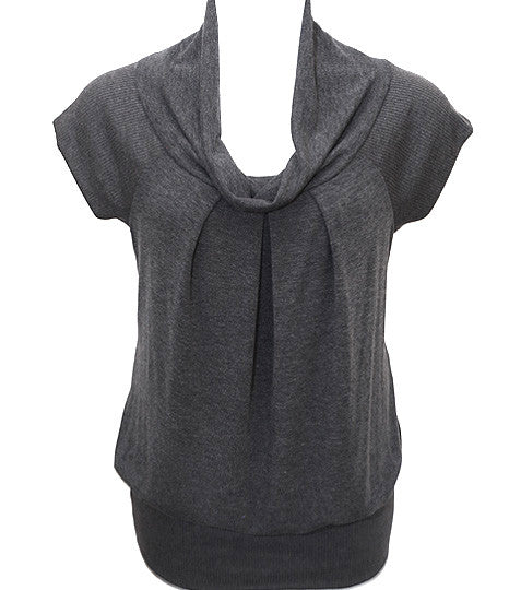 Plus Size Short Sleeve Grey Turtle Neck