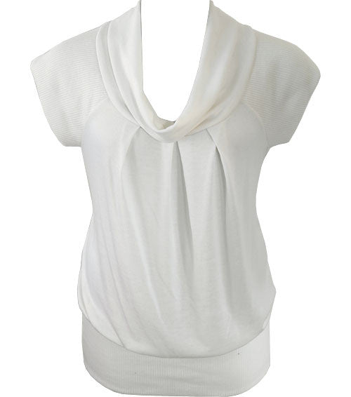 Plus Size Short Sleeve White Turtle Neck